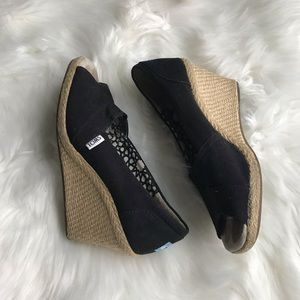 TOMS Black Peep Toe Espadrille Wedges